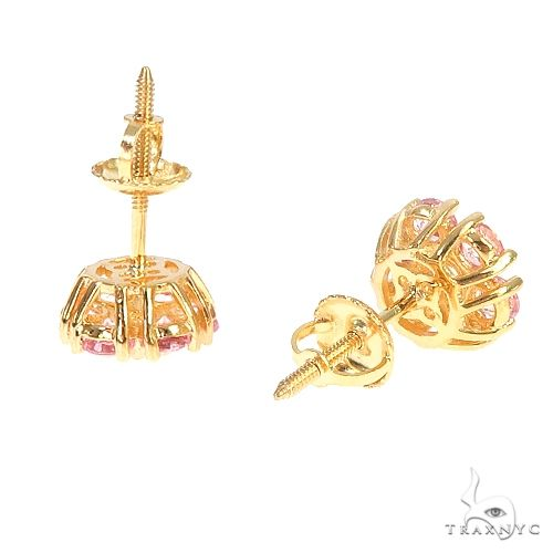 Small Sakura  Sapphire Diamond Flower Earrings 66856 Style