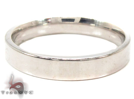 Mens Plain as Can Be White Gold Wedding Ring Style
