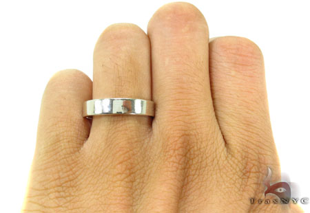 Mens Plain White Gold Wedding Ring Style