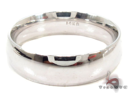 Mens Simple As ABC 14k White Gold Wedding Ring Style