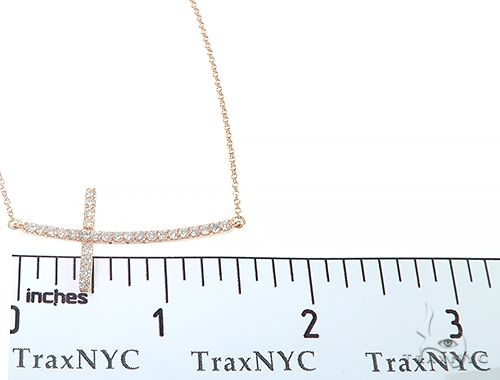 14K Rose Gold Prong Diamond Cross Necklace 36639 Diamond