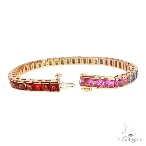 14K Gold Rainbow Sapphire Princess Cut Bracelet 66760 Gemstone & Pearl