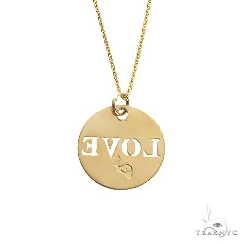 14K Gold Round Love Pendant 66678 Metal