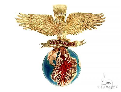 14K Gold Self Made Eagle Globe Pendant 66349 Metal