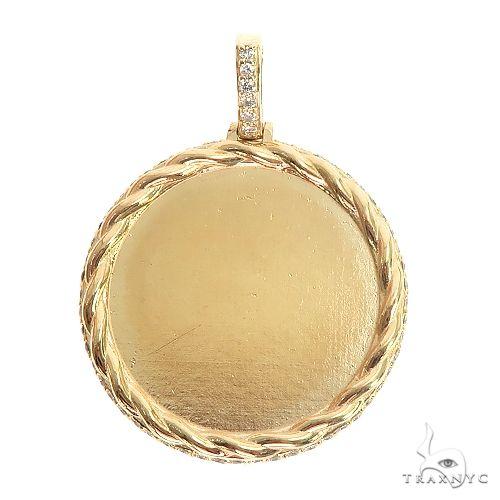 14K Gold Side Diamond Frame Memorial Photo Pendant 66801 Style