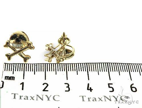 14K Gold Skull Diamond Earrings Stone