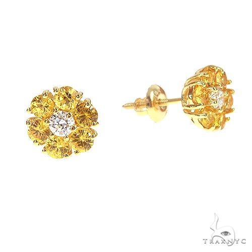 Small 14K Gold Yellow Sapphire Diamond Flower Earrings 66855 Style
