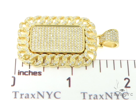 14K Miami Cuban Diamond Dog Tag Pendant 56622 Style
