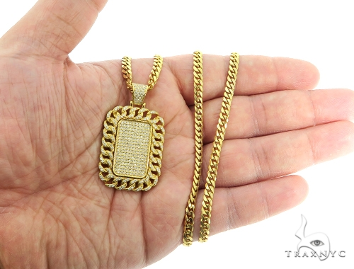 14K Miami Cuban Diamond Dog Tag Set 56621 Style