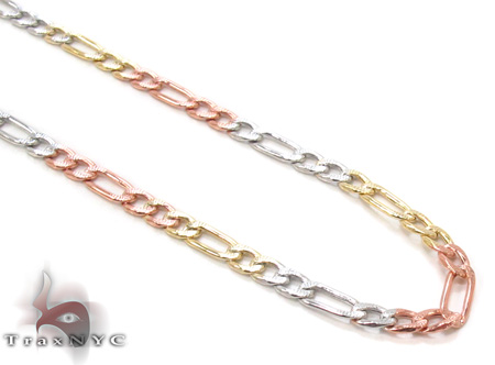 14K Multi-Color Figaro Chain 24 Inches, 3mm, 5.1Grams Gold