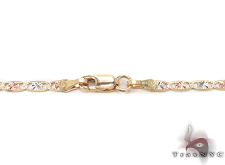14K Three Tone Gold Valentine n 18 Inches 2.5mm 3.90 Grams Gold