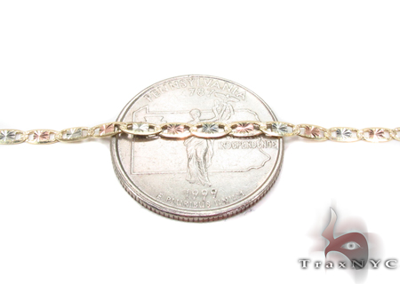 14K Three Tone Valentine Gold Chain 20 Inches 2.5mm 4.40 Grams Gold