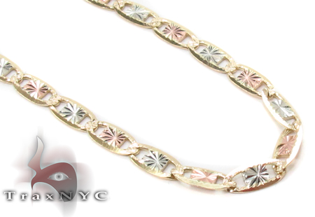 14K Three Tone Valentine Gold Chain 24 Inches 2.5mm 5.30 Grams Gold