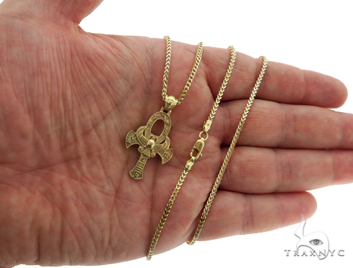 14K TraxNYC's Mystique Ankh Cross Crucifix 10K Franco Chain Set 57204 Gold
