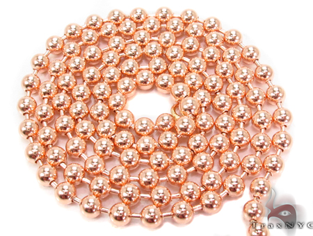 14K Rose Gold Beads Chain 24 Inches 3mm 16.8 Grams Gold
