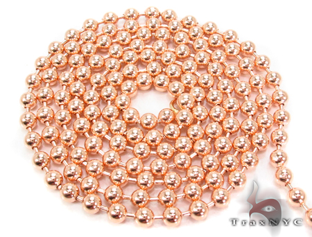 14K Rose Gold Beads Chain 28 Inches 3mm 19.6 Grams Gold