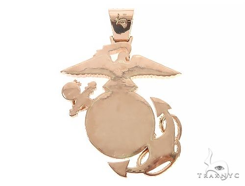 14K Rose Gold Custom Made Marine Pendant 65377 Metal