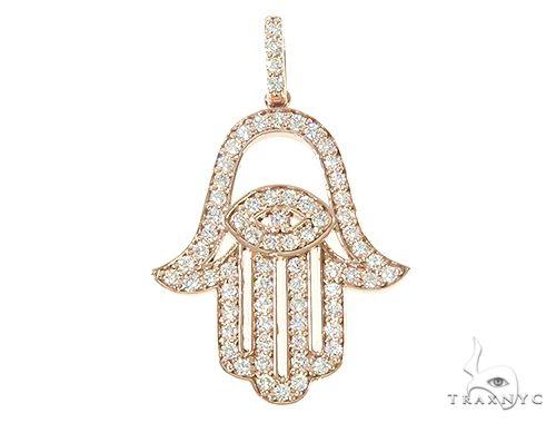 14K Gold Diamond Hamsa Pendant 65764 Stone