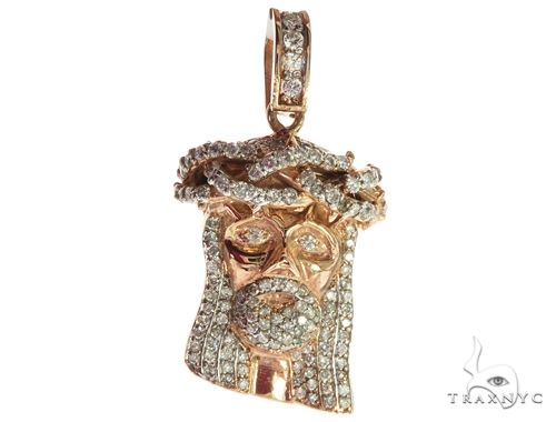 14K Rose Gold Diamond Jesus Head Pendant 63958 Style