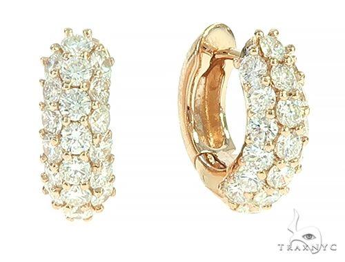 14K Rose Gold Diamond Small Hoop Earring 65772 Style