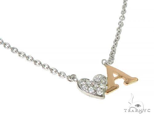 14K Two Tone Heart Initial Diamond Necklace 66269 Diamond