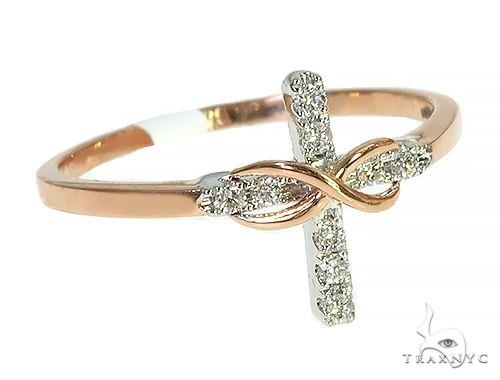 14K Rose Gold Infinity Diamond Cross Ring 66271 Anniversary/Fashion