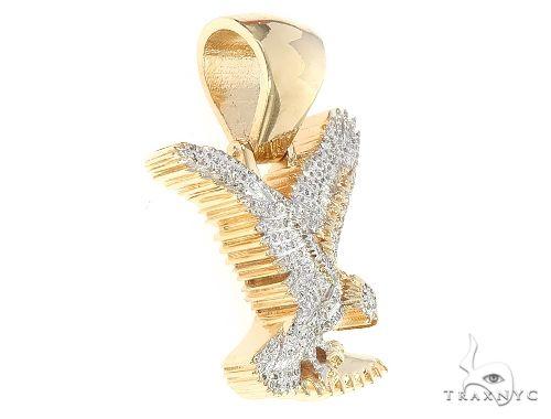 14K Gold Micro Pave Diamond Eagle Charm Pendant 63941 Metal