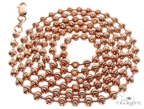 14K Rose Gold Moon Cut Chain 22 Inches 3mm 15.0 Grams 64608 Gold
