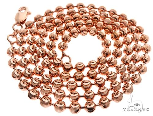 14K Rose Gold Moon Cut Chain 24 Inches 4mm 28.0 Grams 64610 Gold