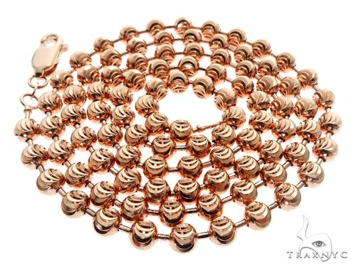 14K Rose Gold Moon Cut Chain 26 Inches 5mm 39.5 Grams 64614 Gold
