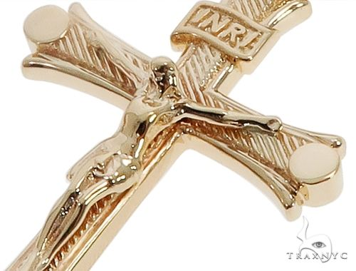 14K Solid Yellow Gold Cross Crucifix 64658 Gold