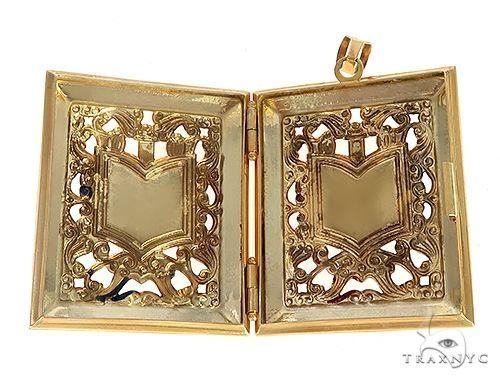 14K Square Locket With Arabic Script Allah Enamel Pendant 65264 65265 Metal