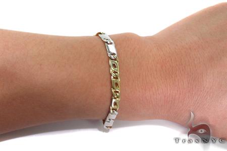 14K Two Tone Gold Tiger Eye Bracelet 31269 Gold