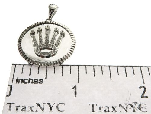 14K White Gold MicroPave Bezel Diamond Crown Charm Pendant 63482 Metal