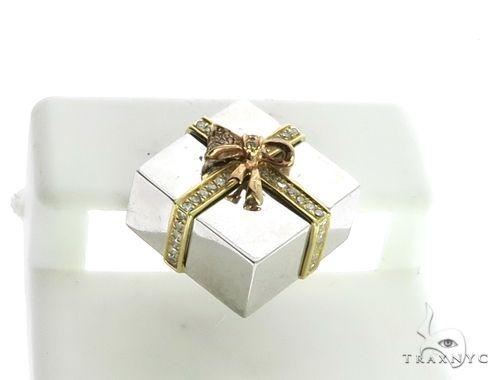 14K White & Yellow Gold Micro Pave Diamond Stud Gift Box Pendant 63143 Stone