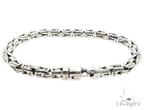 14K White Gold Byzantine Link Bracelet 57174 Gold