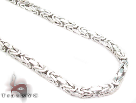14K White Gold Byzantine Chain 30 Inches 3.5mm 58 Grams Gold