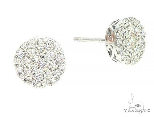 14K White Gold Cluster Stud Earrings 65853 Style