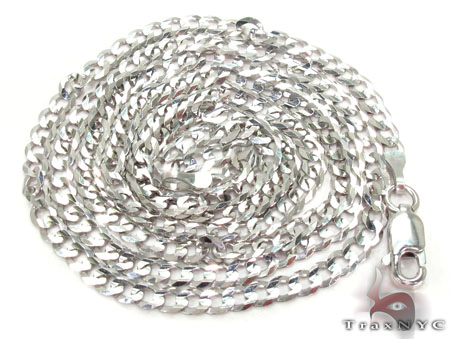 14K White Gold Cuban Chain 20 Inches 2.5mm 4.40 Grams Gold