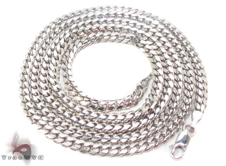 14K White Gold Cuban Chain 24 Inches, 4mm, 28.1 Grams Gold