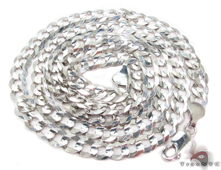 14K White Gold Cuban Chain 24 Inches 6mm 20.0 Grams Gold