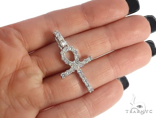 14K White Gold Diamond Ankh Cross Pendant 65520 Diamond