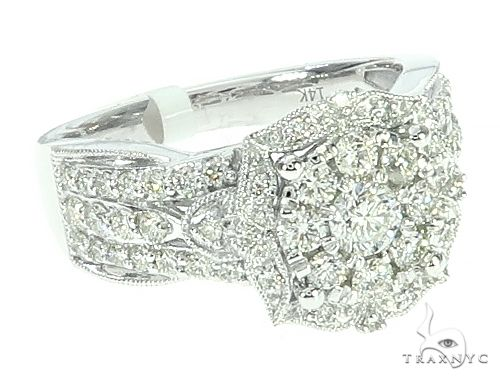 14K White Gold Diamond Cluster Halo Engagement Ring 65732 Engagement