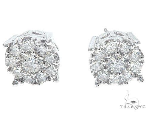 14K White Gold Diamond Cluster Stud Earrings 65522 Stone