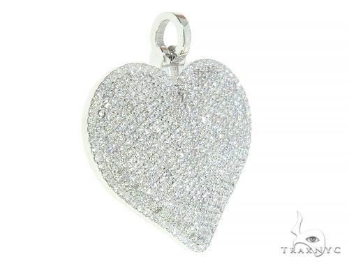 14K White Gold Diamond Heart Pendant 65846 Stone
