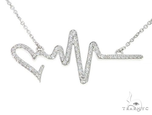 14K White Gold Diamond Heartbeat Necklace 65519 Diamond