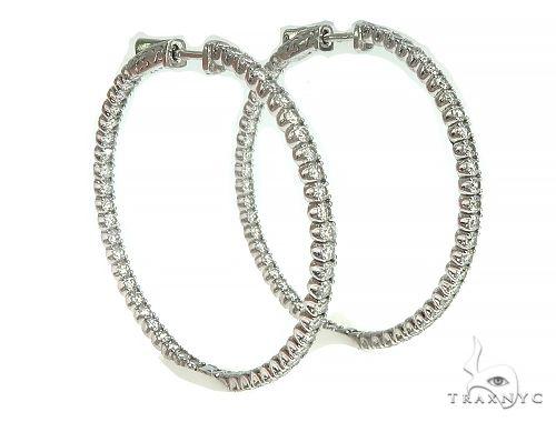 14K White Gold Diamond Hoops Earring 66132 Stone