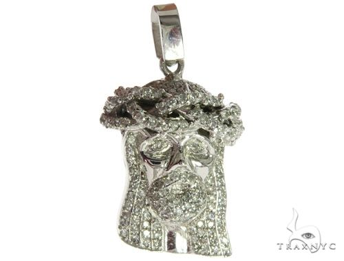 14K White Gold Diamond Jesus Head Pendant 63959 Style