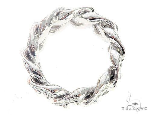 14K White Gold Diamond Miami Cuban Link Ring 65136 Stone