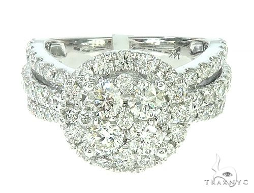 14K White Gold Diamond Round Cluster Halo Engagement Ring 65731 Engagement